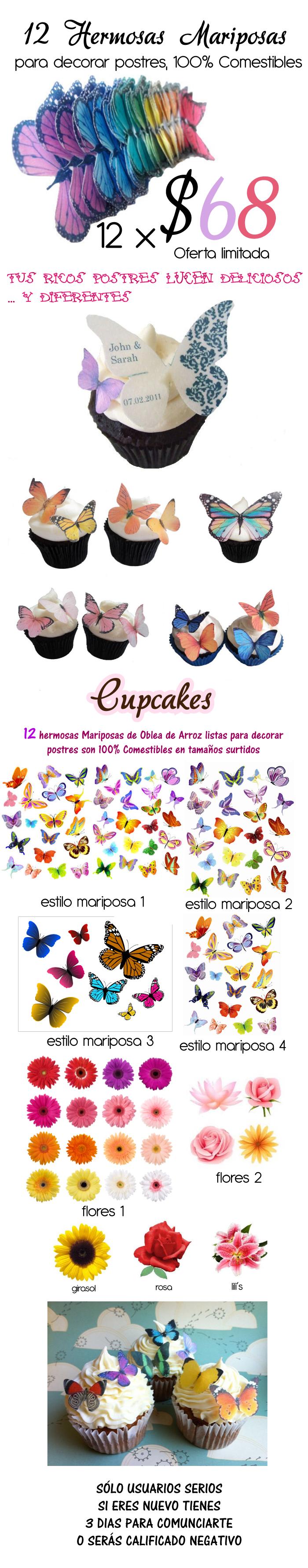 12 Hermosas Mariposas Oblea Comestible Pastel Bfn) $68 en Leon Mexico