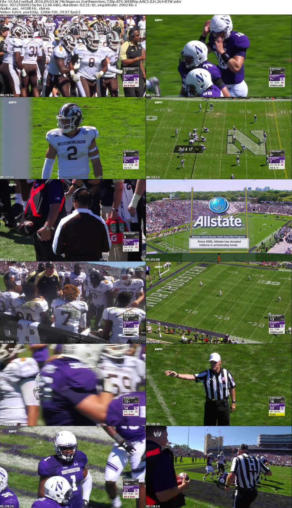 NCAA Football 2016 09 03 W Michigan vs Northwestern 720p BTN WEBRip AAC2 0 H 264-BTW