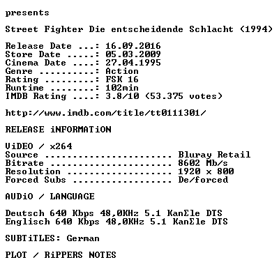 Street Fighter Die entscheidende Schlacht 1994 German DL 1080p BluRay x264 iNTERNAL-KULTFiLME