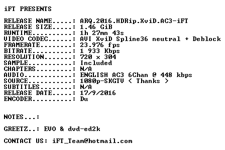 ARQ 2016 HDRip XviD AC3-iFT