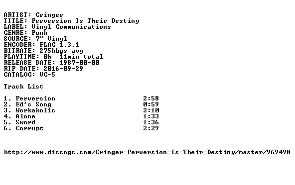 Cringer-Perversion Is Their Destiny-7INCH VINYL-FLAC-1987-FATHEAD