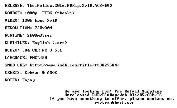 The Hollow 2016 HDRip XviD AC3-EVO