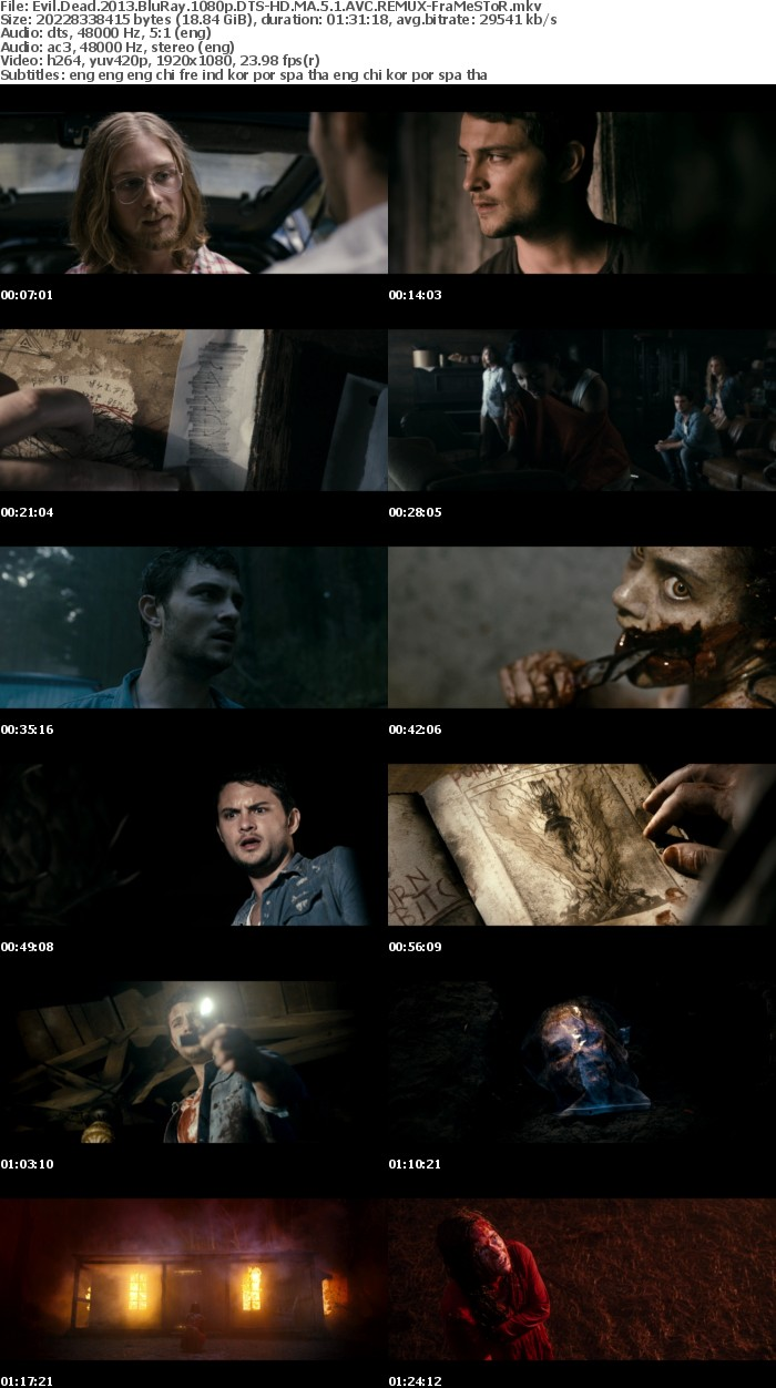 Evil Dead 2013 BluRay 1080p DTS-HD MA 5 1 AVC REMUX-FraMeSToR