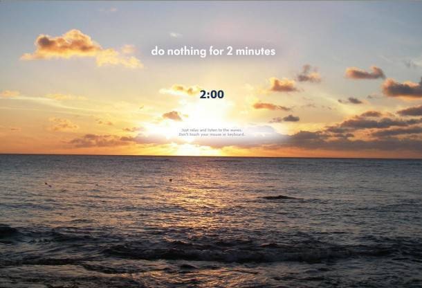 The two-minute home page screen