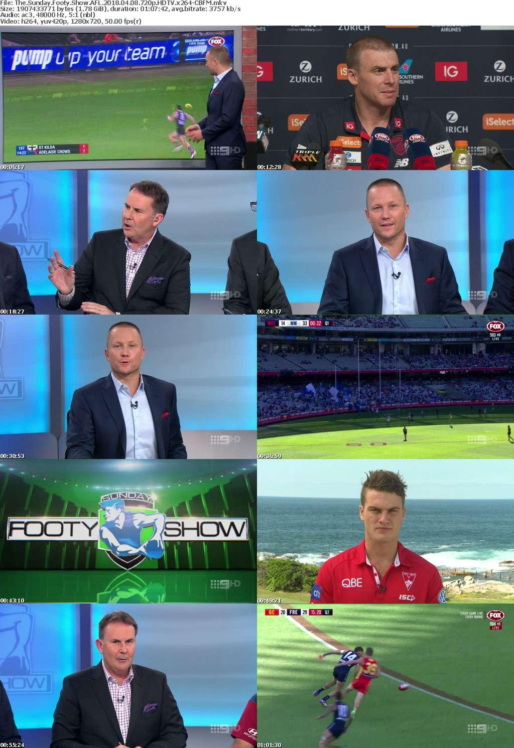The Sunday Footy Show AFL 2018 04 08 720p HDTV x264-CBFM