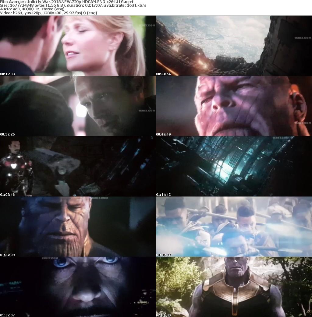 Avengers Infinity War (2018) NEW 720p HDCAM ENG x264 LLG