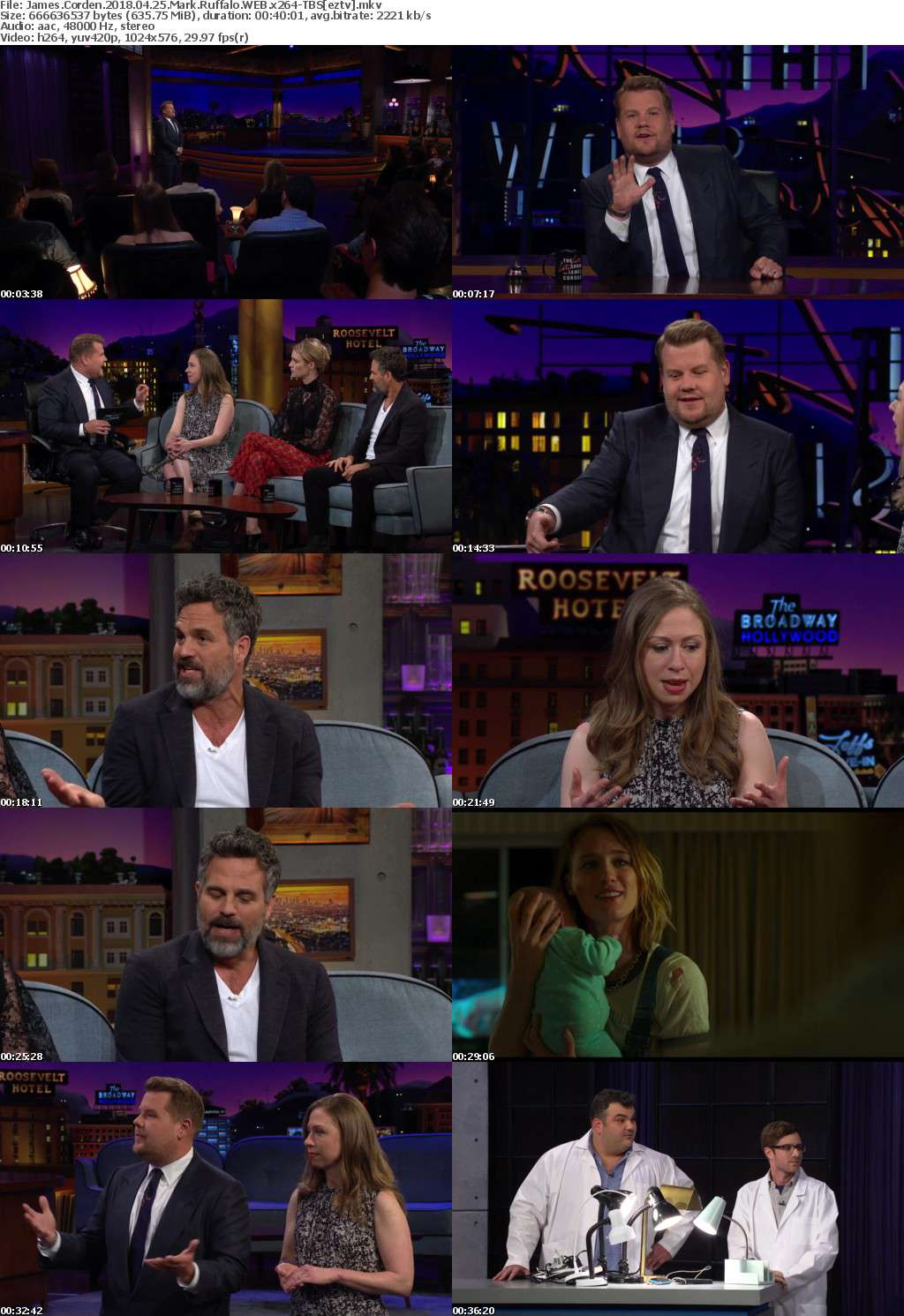 James Corden (2018) 04 25 Mark Ruffalo WEB x264-TBS
