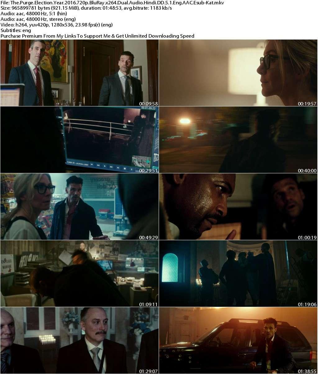 The Purge Election Year (2016) 720p BluRay Dual Audio [Hindi DD 5.1+Eng] AAC Esub-Kat