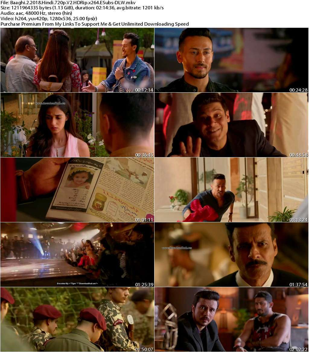 Baaghi 2 (2018) Hindi 720p V2 HDRip x264 ESubs-DLW