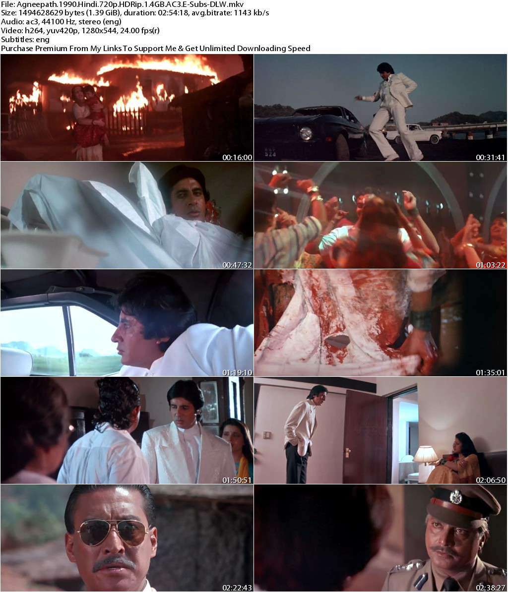 Agneepath (1990) Hindi 720p HDRip 1.4GB AC3 ESubs-DLW