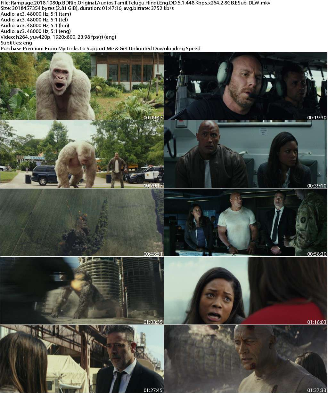 Rampage (2018) 1080p BDRip Original Audios [Tamil+Telugu+Hindi+Eng] DD 5.1 448 Kbps x264 2.8GB ESub-...