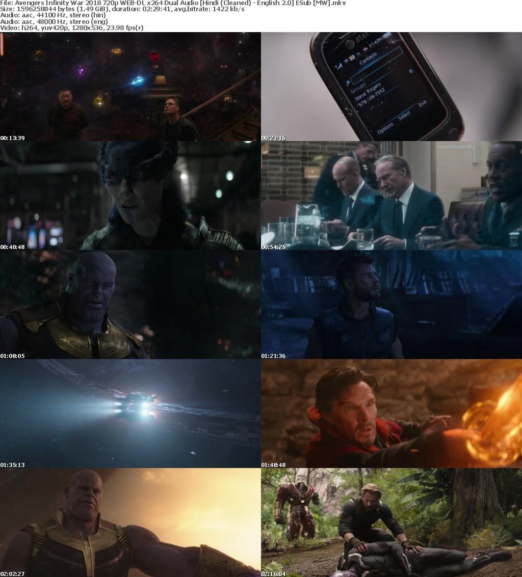 Avengers Infinity War (2018) 720p WEB-DL x264 Dual Audio Hindi (Cleaned) - English 2.0 ESub MW