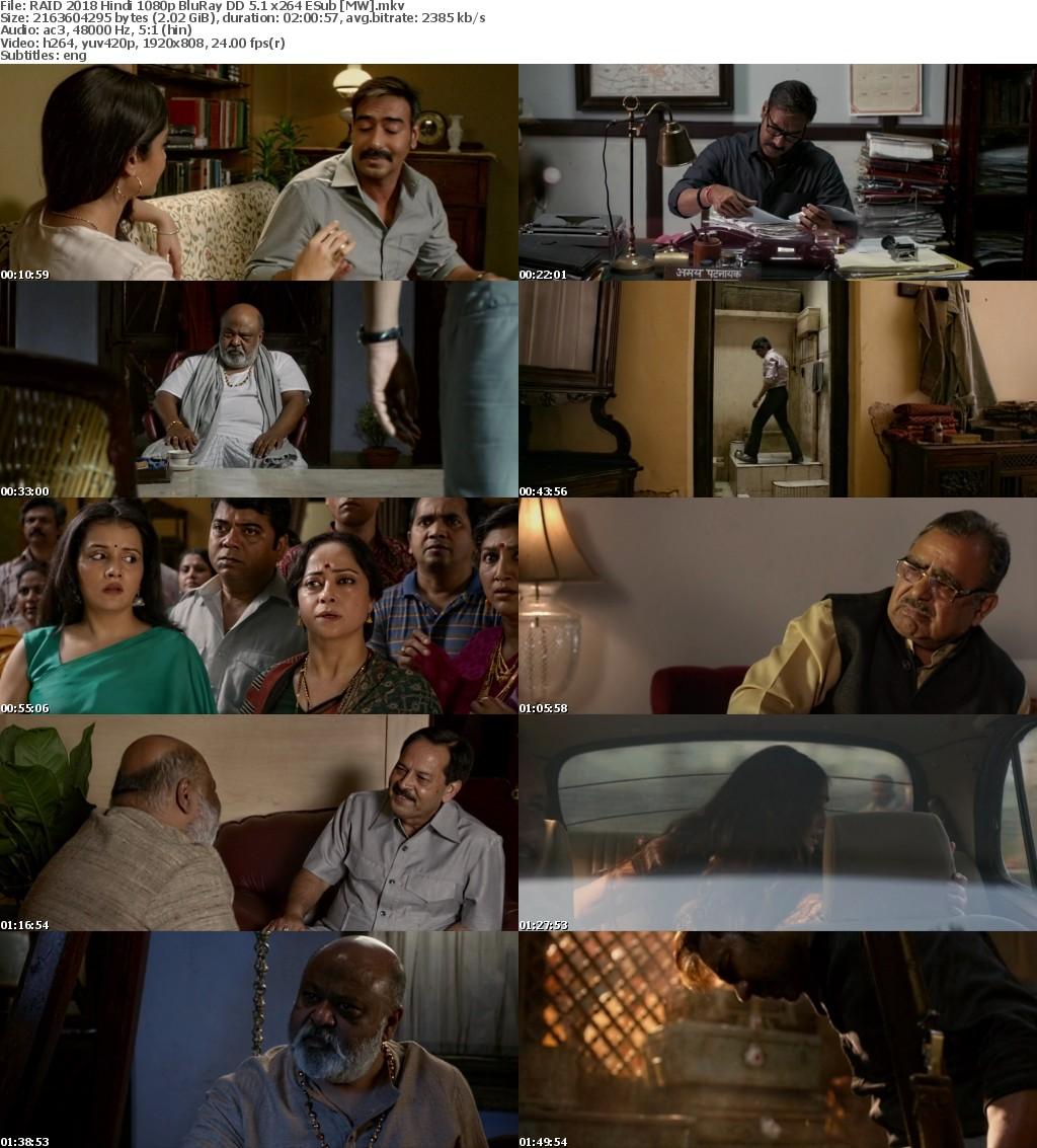 RAID 2018 Hindi 1080p BluRay DD 5 1 x264 ESub MW