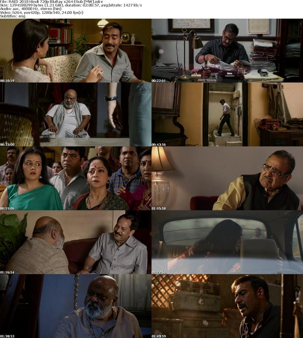 RAID 2018 Hindi 720p BluRay x264 ESub MW