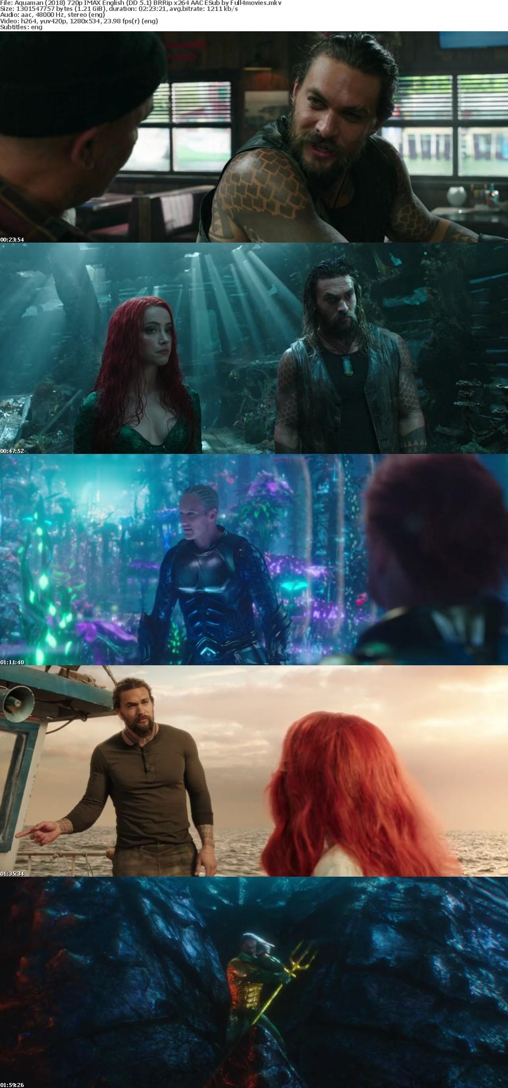 Aquaman 2018 720p IMAX English (DD 5 1) BRRip x264 AAC ESub by Full4movies