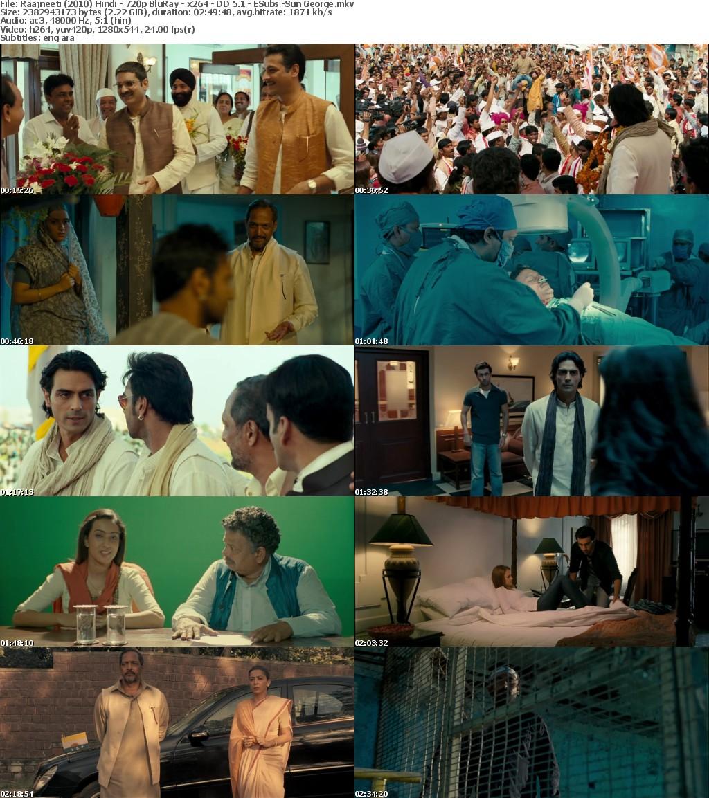 Raajneeti (2010) Hindi - 720p BluRay - x264 - DD 5 1 - ESubs -Sun George