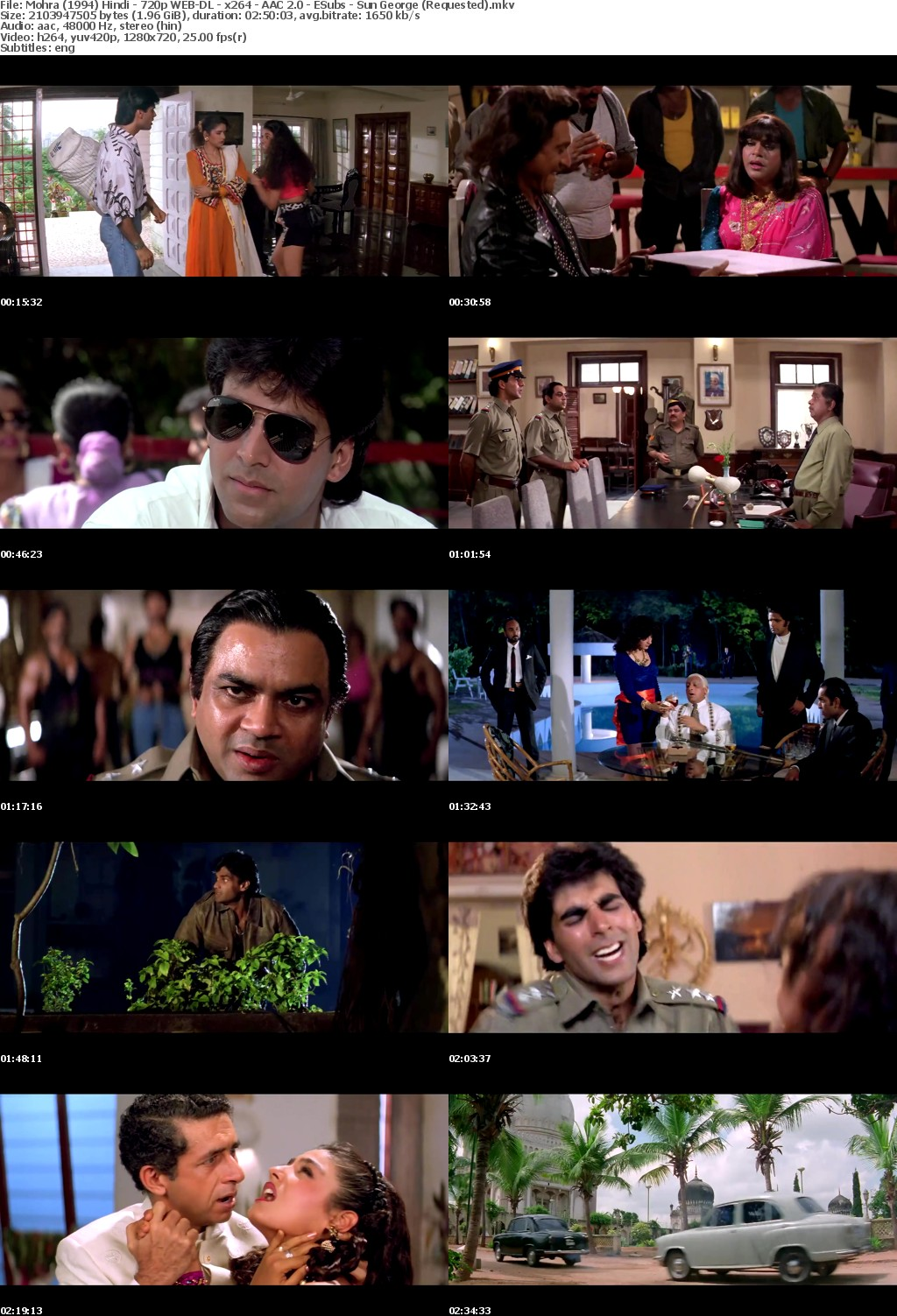 Mohra (1994) Hindi 720p WEB DL x264 AAC 2 0 ESubs Sun George (Requested)