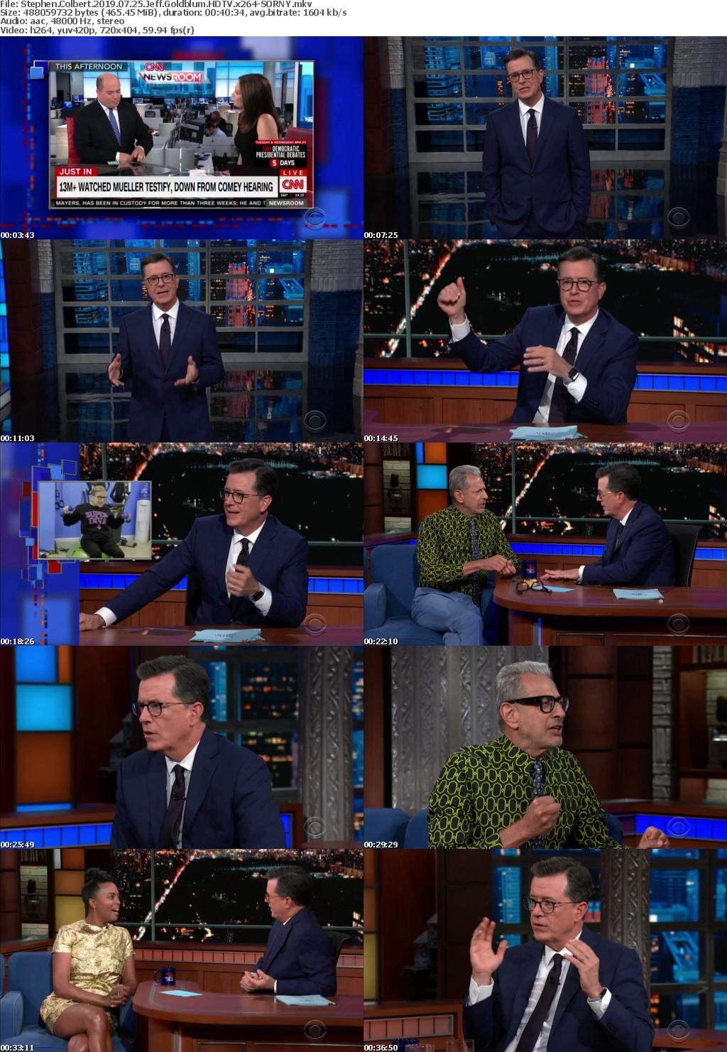 Stephen Colbert 2019 07 25 Jeff Goldblum HDTV x264-SORNY