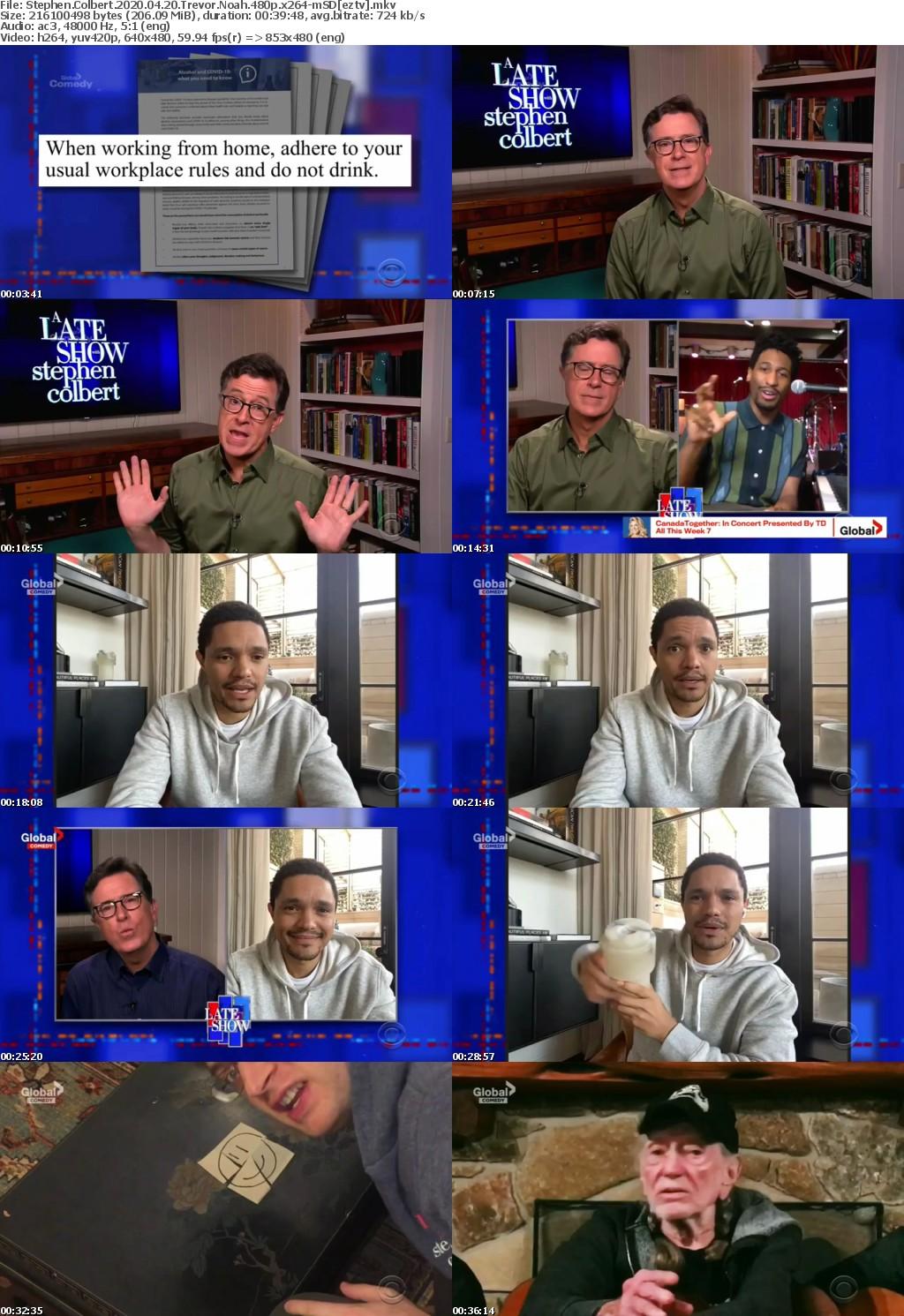 Stephen Colbert 2020 04 20 Trevor Noah 480p x264-mSD