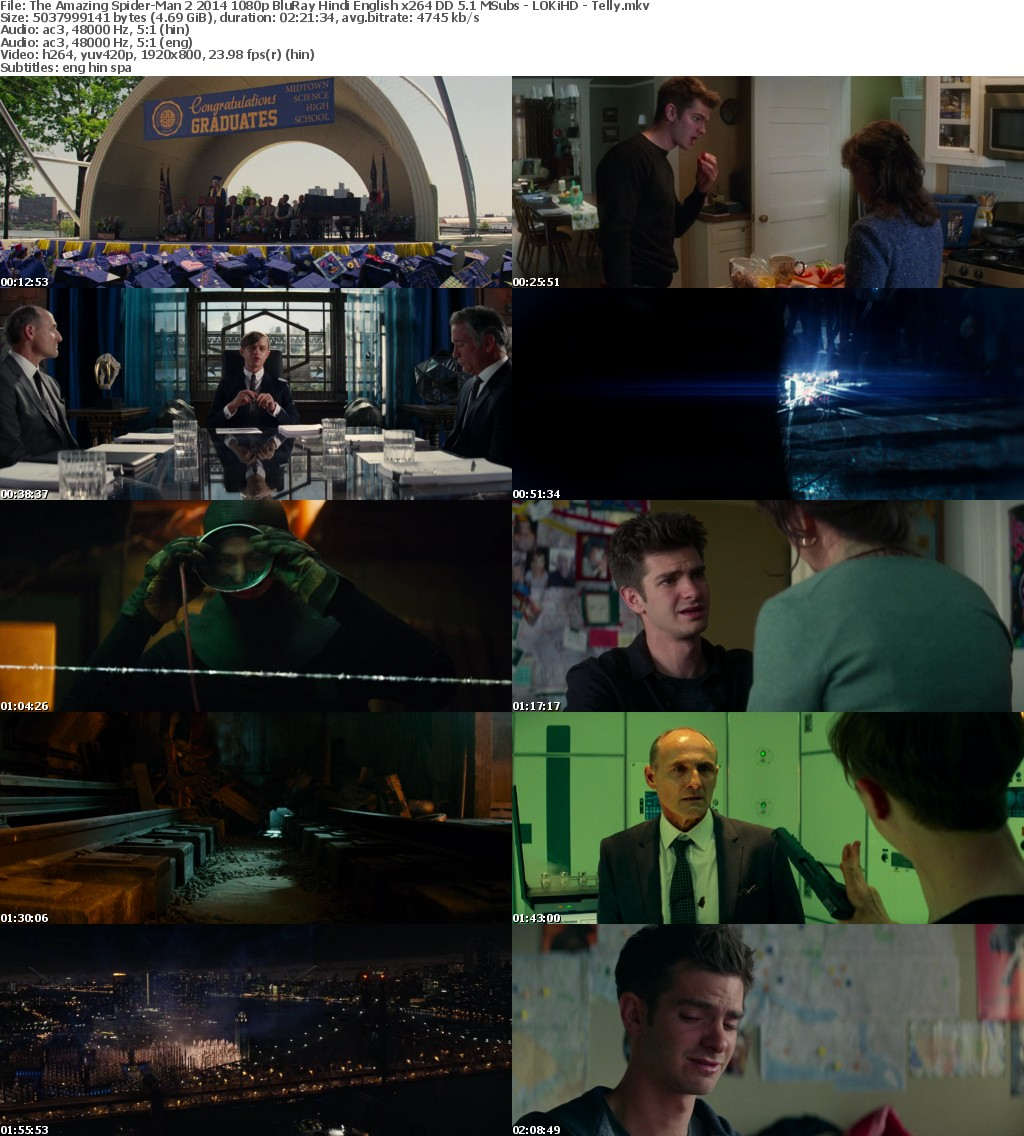 The Amazing Spider-Man 2 (2014) 1080p BluRay Hindi English x264 DD 5.1 MSubs - LOKiHD - Telly