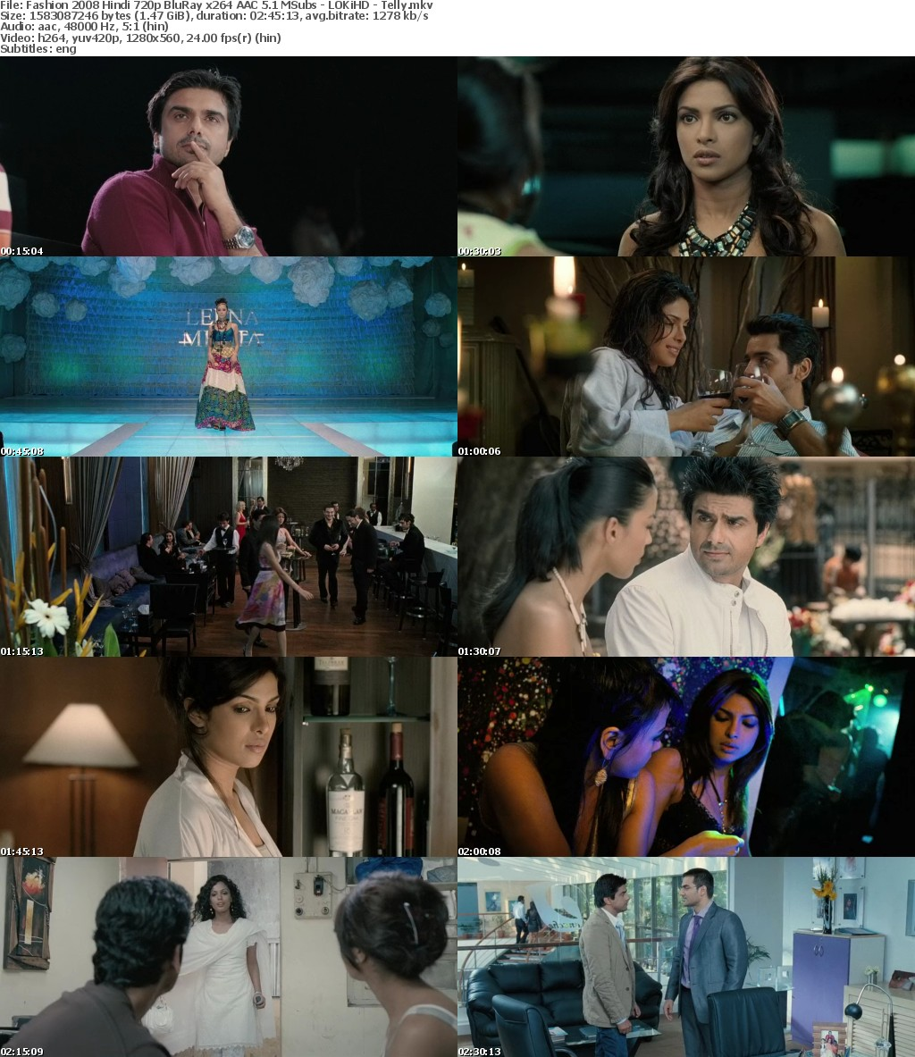 Fashion 2008 Hindi 720p BluRay x264 AAC 5 1 MSubs - LOKiHD - Telly