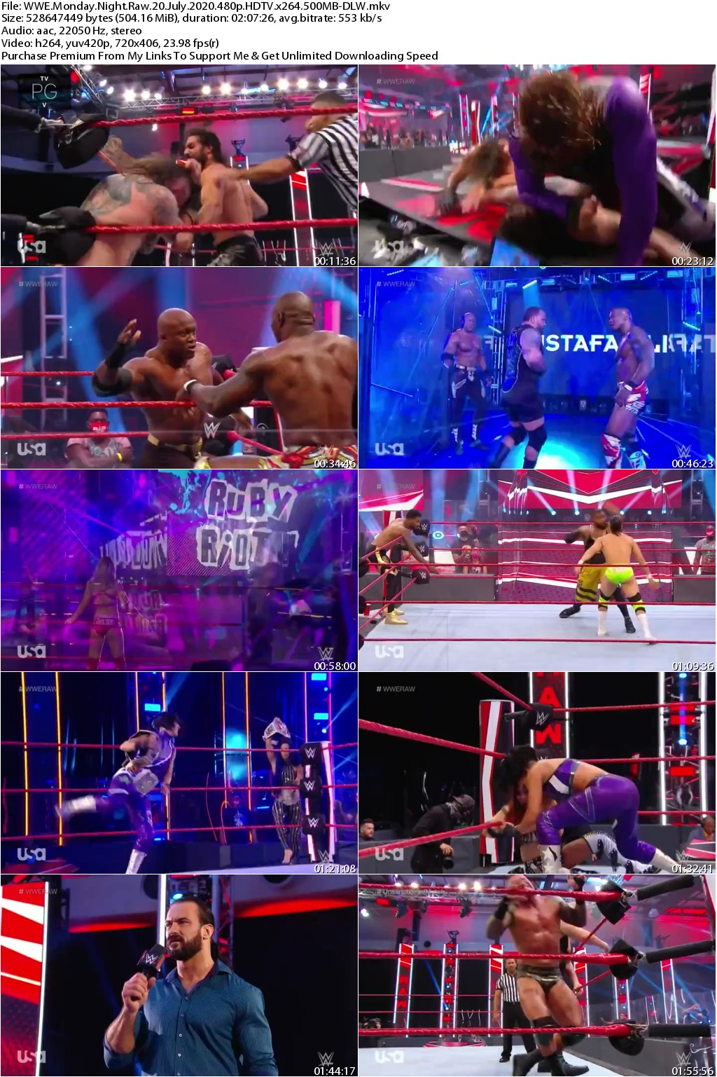 WWE Monday Night Raw 20 July 2020 480p HDTV x264 500MB-DLW
